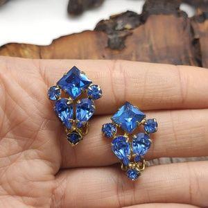Vintage antique royal blue crystal dainty minimal